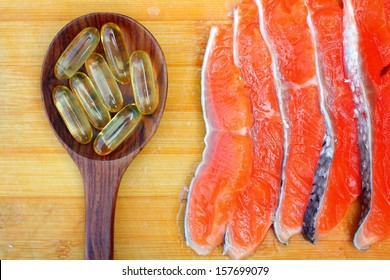 Close-up of salmon oil capsules