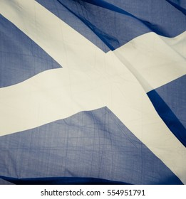 Closeup Of The Saltire Flag Of Scotland