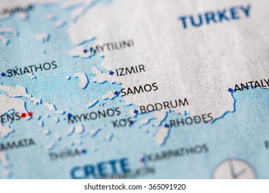 Closeup of Samos, Greece on a political map of Europe.