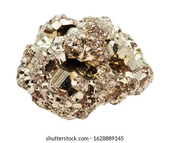 closeup of sample of natural mineral from geological collection - raw crystalline Pyrite (iron pyrite, fool's gold) stone isolated on white background