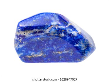 closeup of sample of natural mineral from geological collection - pebble of Lapis lazuli (Lazurite) gem isolated on white background