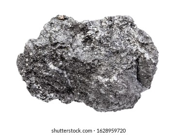 closeup of sample of natural mineral from geological collection - rough Graphite rock isolated on white background