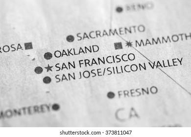 Closeup of San Francisco, California on a map of the USA.