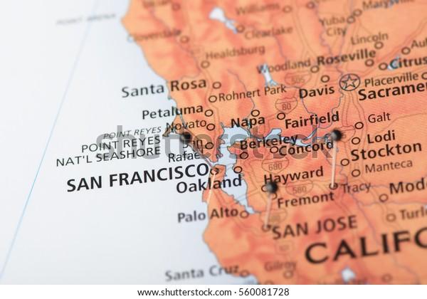 Closeup San Fransisco California Surrounding Areas Stock ...