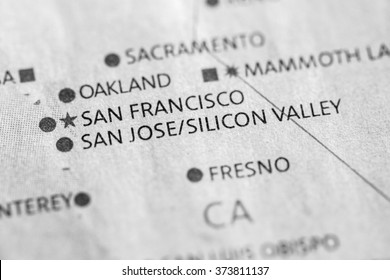 Closeup of San Jose/Silicon Valley, California on a map of the U