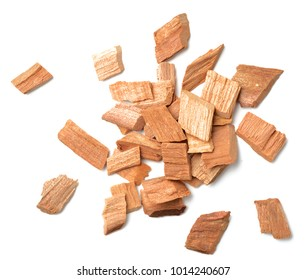 closeup of sandalwood isolated on white, top view