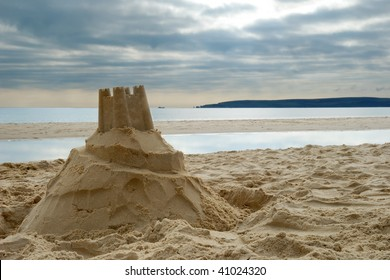 Close-up of sandcastle on Bournemouth beach, Dorset (UK)