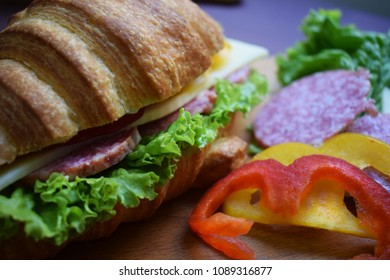 closeup of sandwich and ingredients