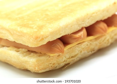 closeup of sandwich isolated on white background