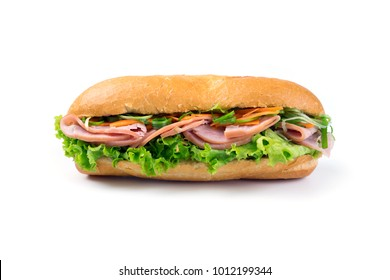 Closeup of sandwiches isolated on white background. Closeup of vietnamese banh mi isolated on white background