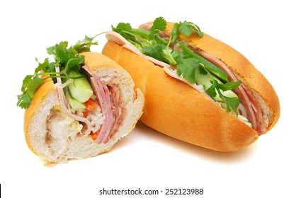 Closeup of sandwiches isolated on white background