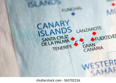 Closeup of Santa Cruz de la Palma, Canary Islands on a political map of Africa.