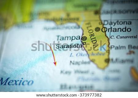 Sarasota Florida Map.Closeup Sarasota Florida On Political Map Stock Photo Edit Now