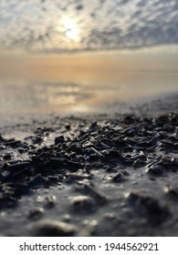 Closeup of a Saturated Dark Debris Filled Shoreline with a Peach Sunrise in the Soft Focus Background