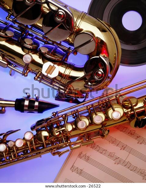 Close-up of Saxophones