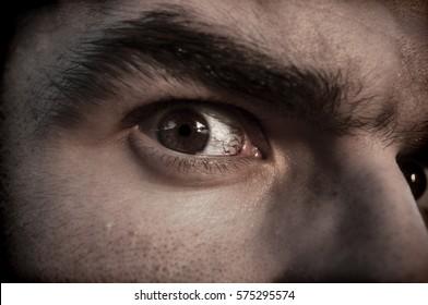 Closeup of a scary man's eye