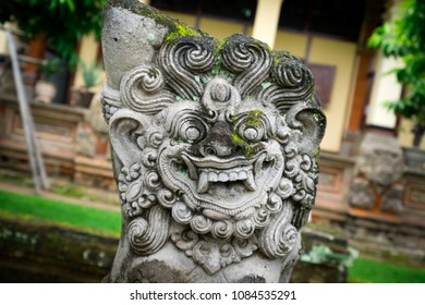 Closeup of a scary statue of the Balinese god of Barong, Bali, Indonesia