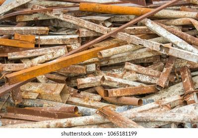 Closeup Scrap Steel of rusty metal scrap from aka construction