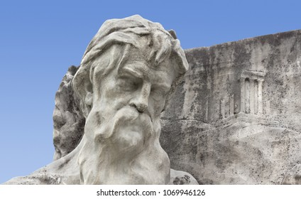 Close-up of a sculpture of a bearded man belonging to the Empress Elisabeth of Austria monument in Trieste, Italy, made by Franz Seifert in 1912