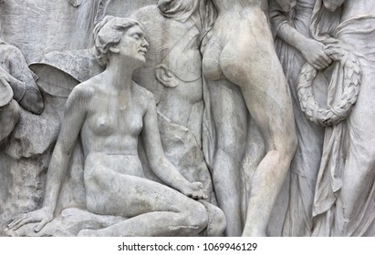 Close-up of the sculptures belonging to the Empress Elisabeth of Austria monument in Trieste, Italy, made by Franz Seifert in 1912