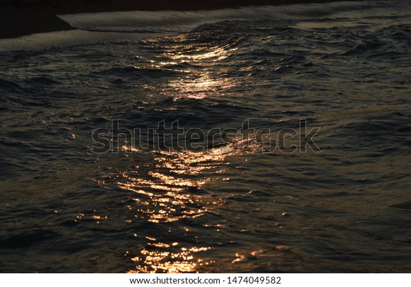 Closeup Sea Waves Golden Sunset No Stock Photo Edit Now