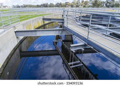 Close-up of sedimentation tank in a sewage treatment plant during daytime
