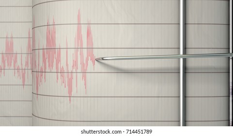A closeup of a seismograph machine needle drawing a red line on graph paper depicting seismic and earthquake activity - 3D render
