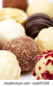 Close-up of a selection of delicious chocolates