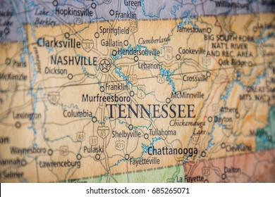 Closeup Selective Focus Of Tennessee State On A Geographical And Political State Map Of The USA.