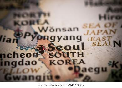 Closeup of Seoul, South Korea on a world map.