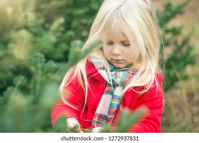 Close-up of serious little girl walking in forest. Face of cute girl wearing red coat and scarf