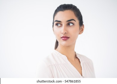 Closeup of Serious Young Beautiful Indian Woman