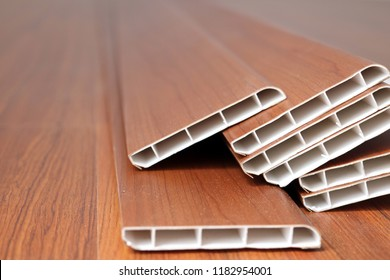 close-up set of PVC skiritng for laminate flooring accessories