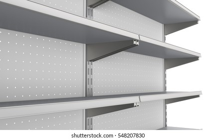 closeup of set of shelves front perspective in supermarket. 3D rendering