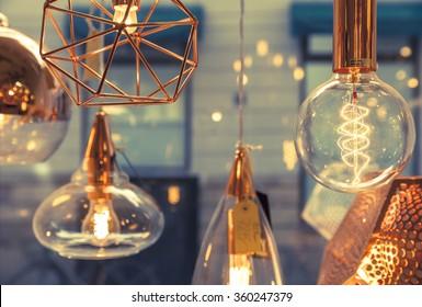 Closeup of several bulbs seeing their tungsten filaments