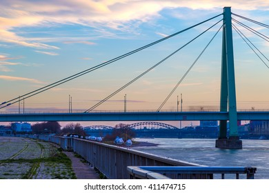 Closeup of Severins Bridge in Cologne, Germany at dusk