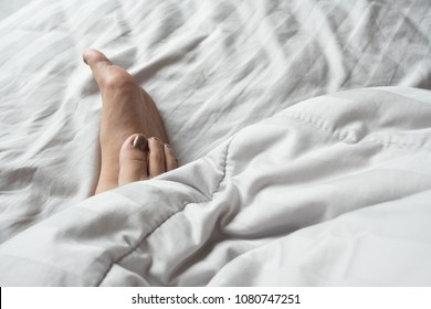 on bed feet sexy