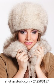 Closeup of a sexy woman in fur
