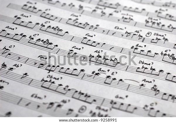 Closeup Sheet Music Score Old Jazz Stock Photo (Edit Now