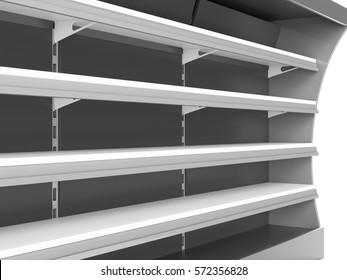 Closeup of shelf. 3D rendering