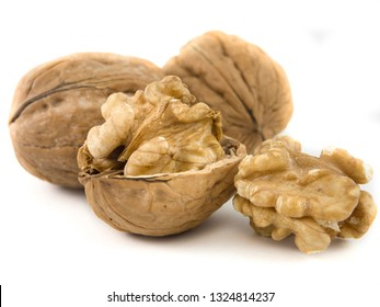 close-up of shelled dried walnut. isolated background with white color