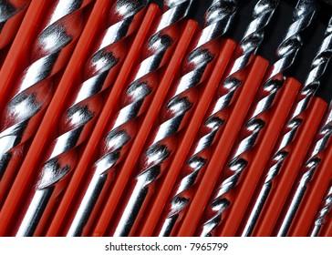 Close-up of shiny new masonry drill bits