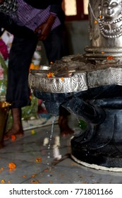 Closeup of Shiva Linga statue,a symbol or Icon of Hindu God Shiva used to perform puja or prayers