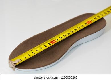 close-up. Shoe size measurement. Measure tape measure insoles. Size concept