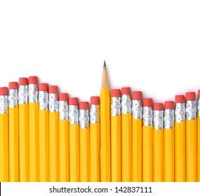 close-up shoot of wooden orange pencil