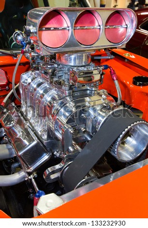 closeup shot american muscle cars engine stock photo (edit now