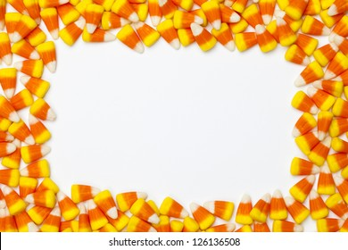Close-up shot of arranged candy corns.