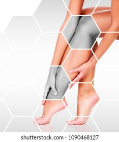 Closeup shot of beautiful female legs and hands. Unwanted hair removal and skincare concept. Perfect smooth skin
