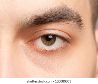 Close-up shot of beautiful male eye looking at camera