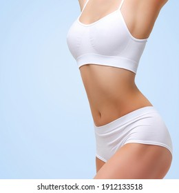 Closeup shot of beautiful sexy female body. Liposuction, diet and healthy lifestyle, weight loss concept